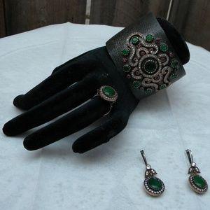 Cuff Bracelet Earrings Ring Sterling Silver